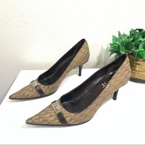Dior Diorissimo Logo Canvas Pumps Heel Shoe